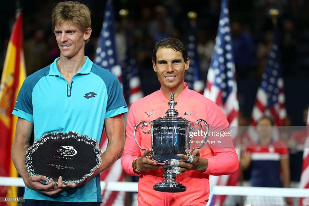 Rafael Nadal of Spain is awarded US Open championship after defeating Kevin Anderson of South Africa in Men's Singles final match within the 2017 US Open Tennis Championships at Arthur Ashe Stadium in New York, United States on September 10, 2017.