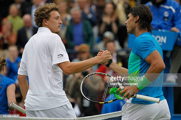 Rafael Nadal of Spain is congratulated after his third round match against Denis Istomin of Uzbekistan on Day 4 of the the AEGON Championships at...