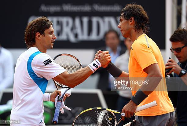 Rafael Nadal of Spain is congratulated by David Ferrer of Spain during day eight of the Internazionali BNL d'Italia 2012 Tennis on May 19, 2012 in...