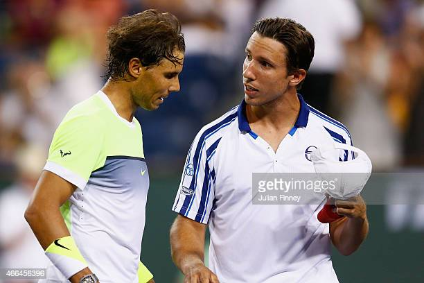 Rafael Nadal of Spain is congratulated by Igor Sijsling of Netherlands after their match during day seven of the BNP Paribas Open tennis at the...
