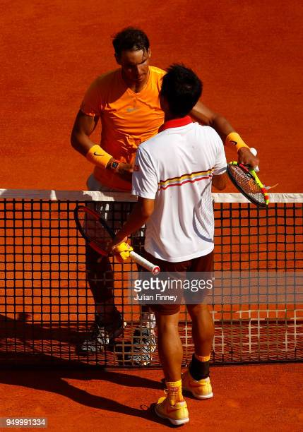 Rafael Nadal of Spain is congratulated by Kei Nishikori of Japan after his win during day eight of ATP Masters Series Monte Carlo Rolex Masters at...