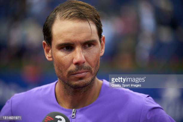Rafael Nadal of Spain is interviewed following victory in his Men's Singles final match against Stefanos Tsitsipas of Greece on day seven of the...