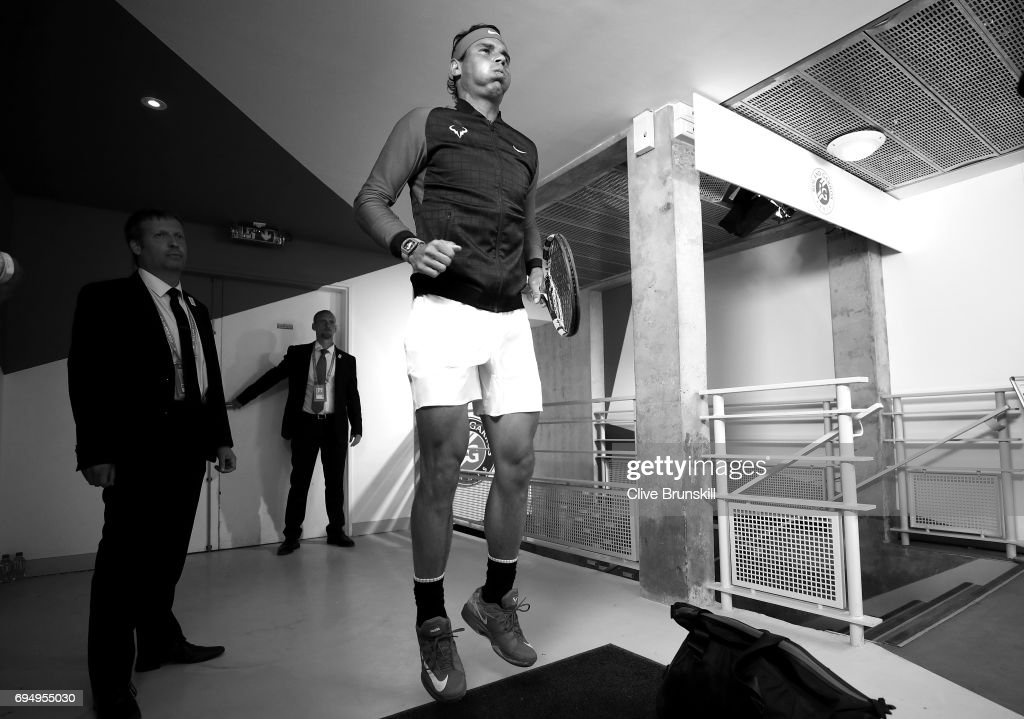Rafael Nadal of Spain is pictured inside the tunnel area prior to his mens singles semi-final match against Dominic Thiem of Austria on day thirteen of the 2017 French Open at Roland Garros on June 10, 2017 in Paris, France.
