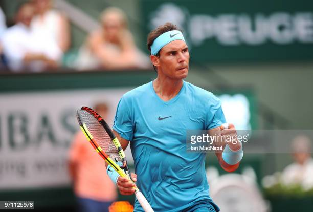 Rafael Nadal of Spain is seen during his Men's Singles Final match against Dominic Thiem of Austria during day fifteen of the 2018 French Open at...