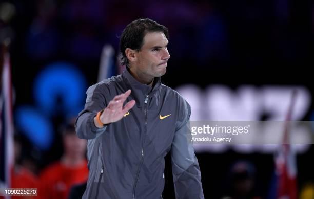 Rafael Nadal of Spain is seen following defeat in his Men's Singles Final match against Novak Djokovic of Serbia on the day 14 of the Australian Open...