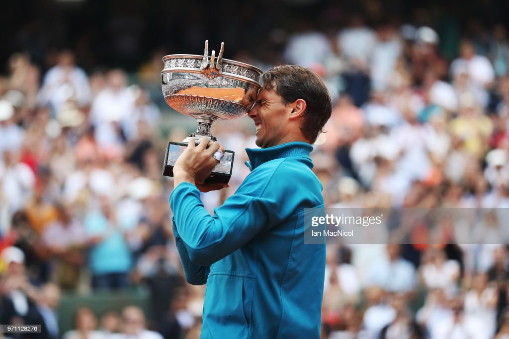 Rafael Nadal of Spain is seen with the trophy after his Men's Singles Final match against Dominic Thiem of Austria during day fiftteen of the 2018 French Open at Roland Garros on June 10, 2018 in Paris, France.