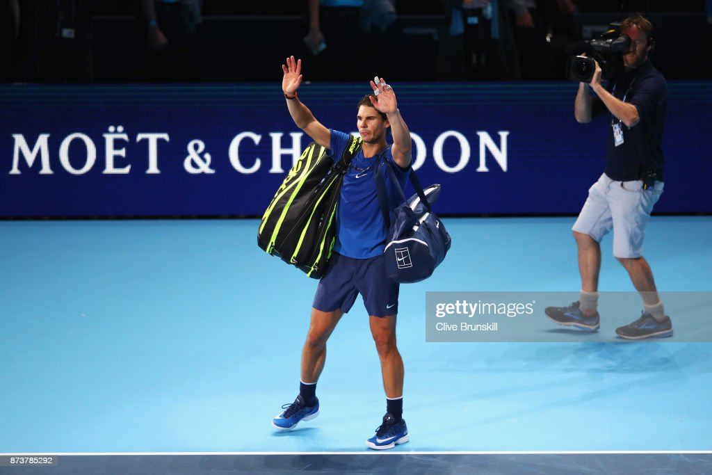 Rafael Nadal of Spain leaves the court after defeat in his Singles match against David Goffin of Belgium during day two of the Nitto ATP World Tour Finals at O2 Arena on November 13, 2017 in London, England.