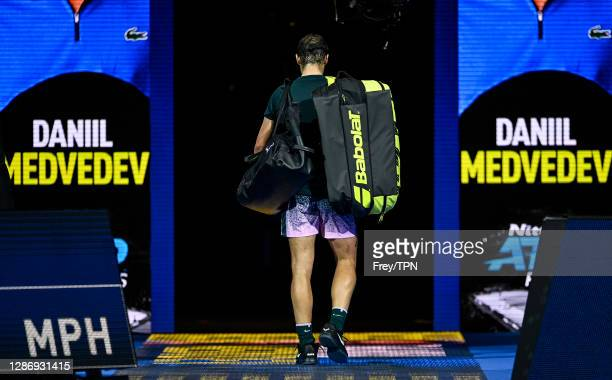 Rafael Nadal of Spain leaves the court after losing to Daniil Medvedev of Russia on the semi-finals on Day 7 of the Nitto ATP World Tour Finals at...