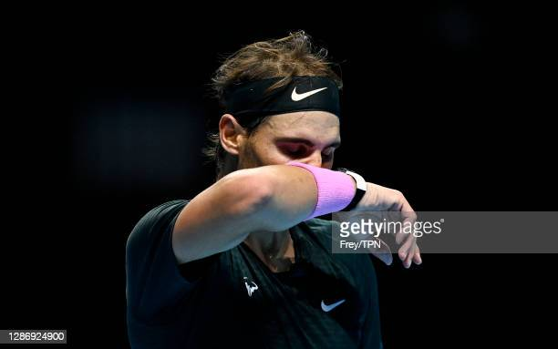 Rafael Nadal of Spain looks dejected during his match against Daniil Medvedev of Russia during Day 7 of the Nitto ATP World Tour Finals at The O2...