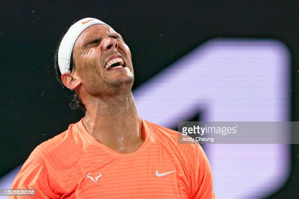 Rafael Nadal of Spain looks dejected during his Men's Singles Quarterfinals match against Stefanos Tsitsipas of Greece during day 10 of the 2021...