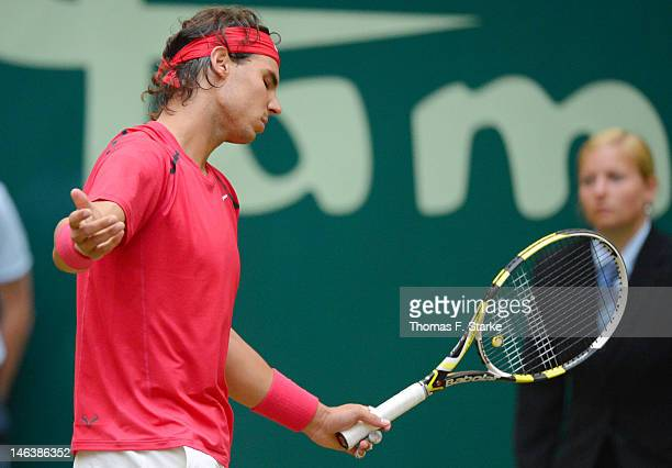 Rafael Nadal of Spain looks dejected during his quarter final match against Philipp Kohlschreiber of Germany during day five of the Gerry Weber Open...