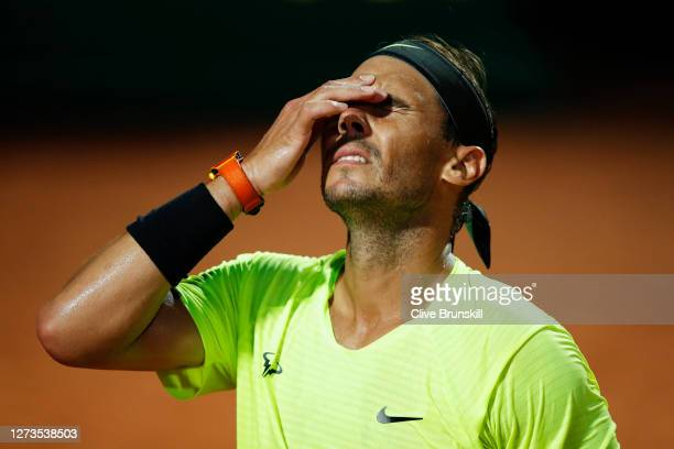 Rafael Nadal of Spain looks dejected in his quarterfinal match against Diego Schwartzman of Argentina during day six of the Internazionali BNL...