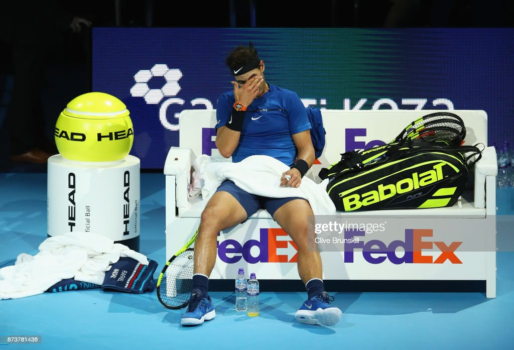 Rafael Nadal of Spain looks dejected in his Singles match against David Goffin of Belgium during day two of the Nitto ATP World Tour Finals at O2 Arena on November 13, 2017 in London, England.