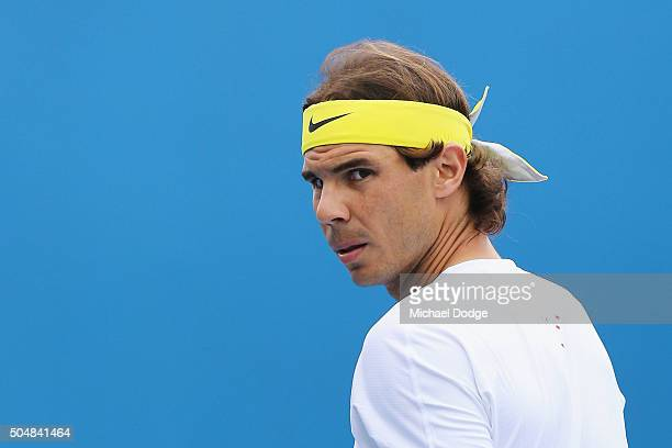 Rafael Nadal of Spain looks focused during a practice session ahead of the 2016 Australian Open at Melbourne Park on January 14 2016 in Melbourne...