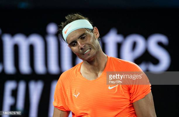 Rafael Nadal of Spain looks frustrated against Stefanos Tsitsipas of Greece during day 10 of the 2021 Australian Open at Melbourne Park on February...