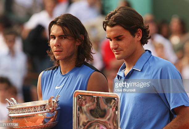 Rafael Nadal of Spain looks on after defeating Roger Federer of Switzerland during the Men's Singles Final on day fifteen of the French Open at...