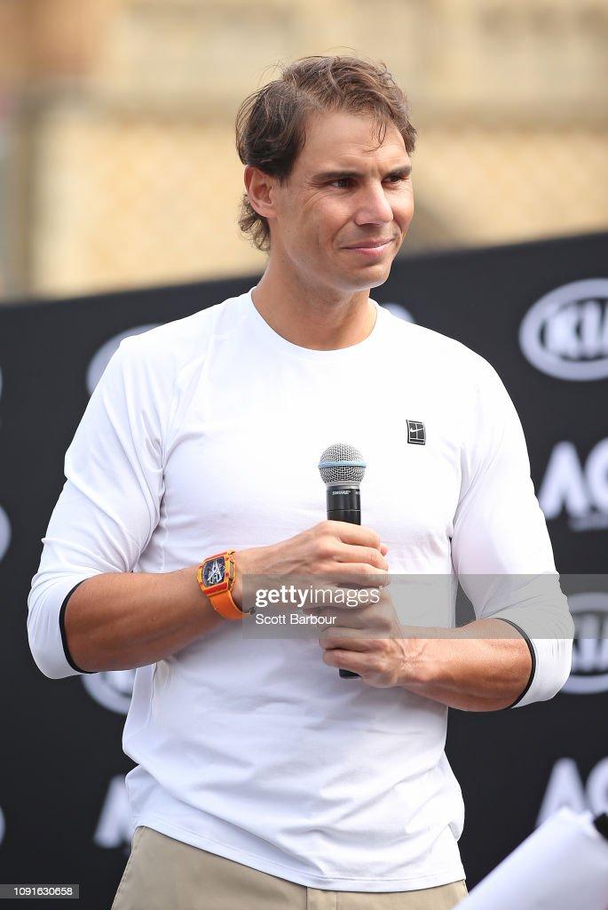 Rafael Nadal of Spain looks on during a Kia Key handover