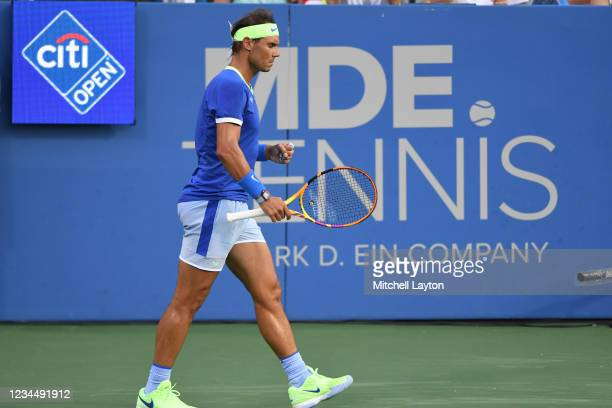 Rafael Nadal of Spain looks on during a match against Lloyd Harris of South Africa on Day 6 during the Citi Open at Rock Creek Tennis Center on...