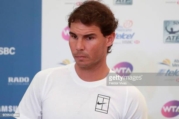 Rafael Nadal of Spain looks on during a press conference to announce his retirement from the Telcel Mexican Open 2018 at Mextenis Stadium on February...
