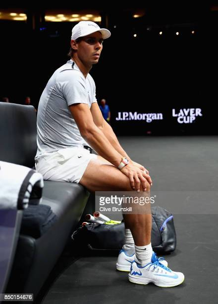 Rafael Nadal of Spain looks on during a training session ahead of the Laver Cup on September 20 2017 in Prague Czech Republic The Laver Cup consists...