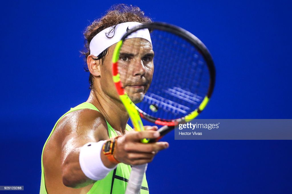 Rafael Nadal of Spain looks on during a training session as part of the Telcel Mexican Open 2018 at Mextenis Stadium on February 26, 2018 in Acapulco, Mexico.
