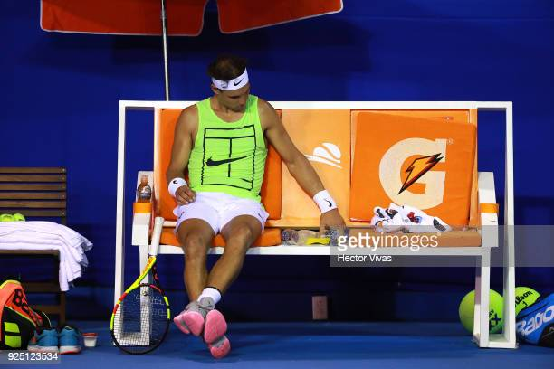 Rafael Nadal of Spain looks on during a training session as part of the Telcel Mexican Open 2018 at Mextenis Stadium on February 26 2018 in Acapulco...