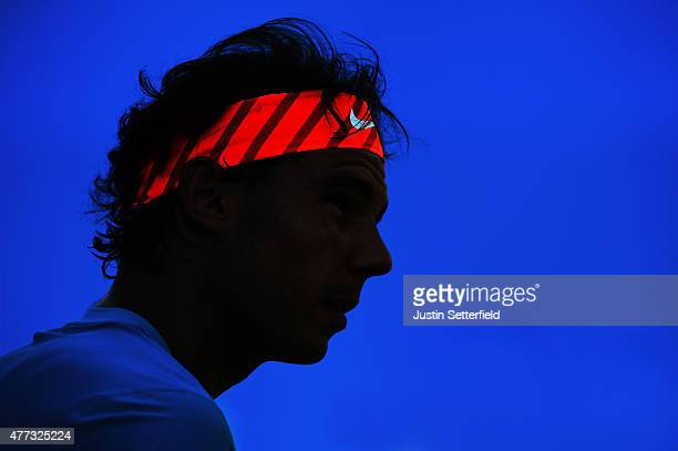 Rafael Nadal of Spain looks on during his men's singles first round match against Alexandr Dolgopolov of Ukraine during day two of the Aegon...