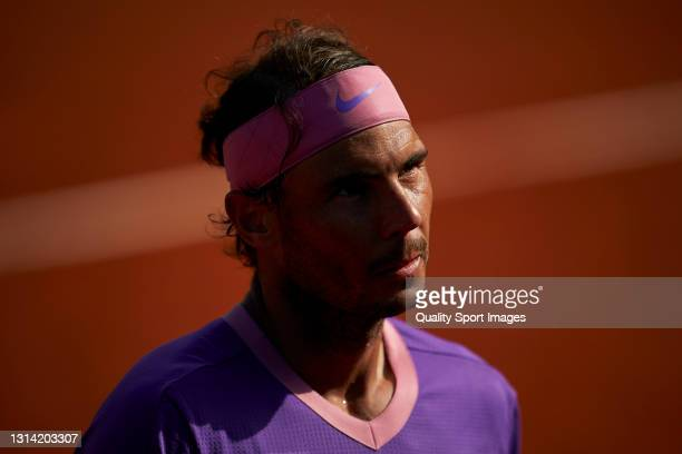 Rafael Nadal of Spain looks on during his Men's Singles semifinal match against Pablo Carreno Busta of Spain on day six of the Barcelona Open Banc...