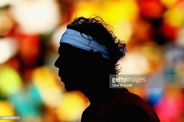 Rafael Nadal of Spain looks on during the Men's Singles Semifinal Match against Juan Martin Del Potro of Argentina on Day 8 of the Rio 2016 Olympic...