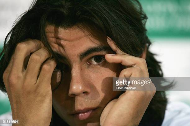 Rafael Nadal of Spain looks on during the team press conference prior to the Davis Cup by BNP Paribas-World Group Final between Spain and United...