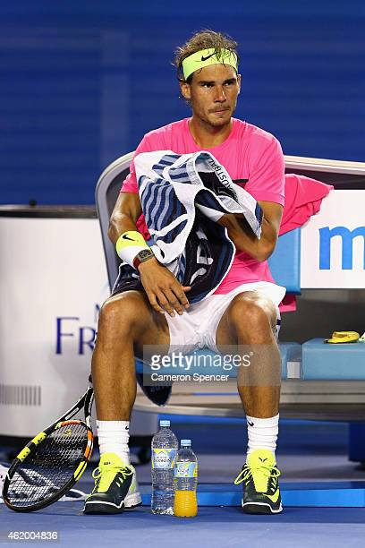 Rafael Nadal of Spain looks on his third round match against Dudi Sela of Israel during day five of the 2015 Australian Open at Melbourne Park on...