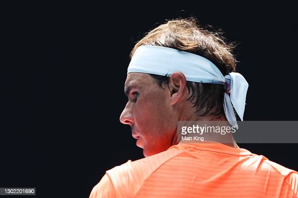 Rafael Nadal of Spain looks on in his Men's Singles fourth round match against Fabio Fognini of Italy during day eight of the 2021 Australian Open at...