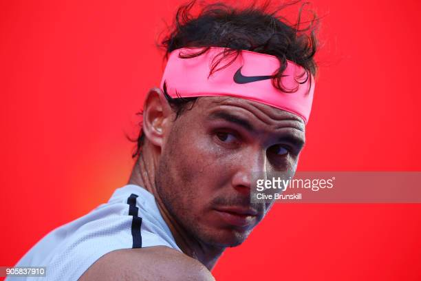 Rafael Nadal of Spain looks on in his second round match against Leonardo Mayer of Argentina on day three of the 2018 Australian Open at Melbourne...