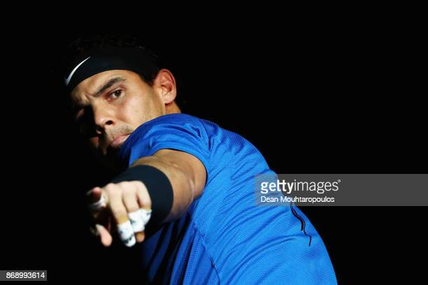 Rafael Nadal of Spain looks on prior to his match against Chung Hyeon of South Korea during Day 3 of the Rolex Paris Masters held at the AccorHotels...
