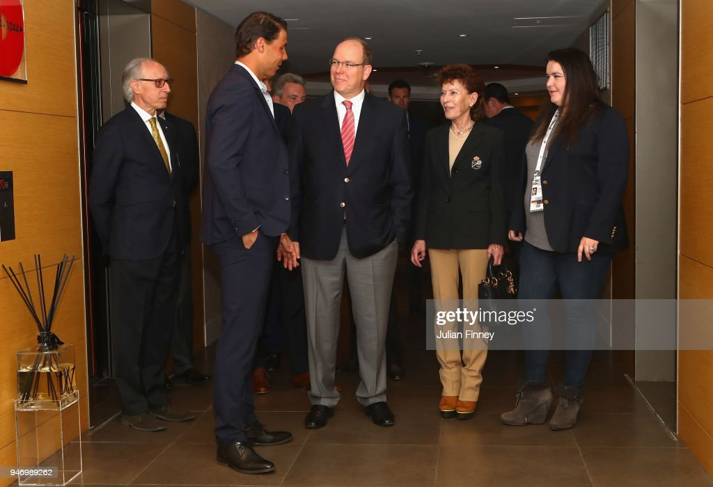 Rafael Nadal of Spain meets with Albert II, Prince of Monaco, Elysabeth-Anne de Massy and Melanie de Massy on the floor of Nadal's suite during Day Two of the ATP Masters Series Monte Carlo Rolex Masters at Monte-Carlo Sporting Club on April 16, 2018 in Monte-Carlo, Monaco.