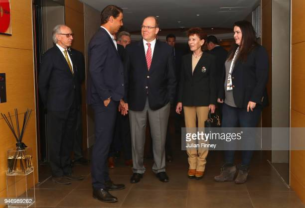 Rafael Nadal of Spain meets with Albert II Prince of Monaco ElysabethAnne de Massy and Melanie de Massy on the floor of Nadal's suite during Day Two...