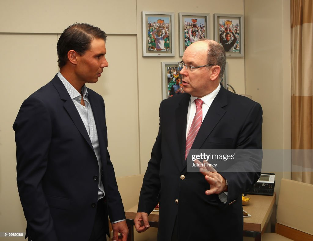 Rafael Nadal of Spain meets with Albert II, Prince of Monaco in his lucky hotel suite during Day Two of the ATP Masters Series Monte Carlo Rolex Masters at Monte-Carlo Sporting Club on April 16, 2018 in Monte-Carlo, Monaco.