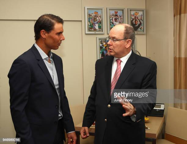 Rafael Nadal of Spain meets with Albert II Prince of Monaco in his lucky hotel suite during Day Two of the ATP Masters Series Monte Carlo Rolex...