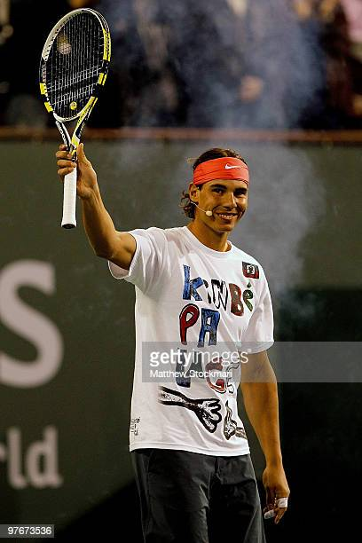 Rafael Nadal of Spain participates in Hit for Haiti, a charity event during the BNP Paribas Open on March 12, 2010 in Indian Wells, California.