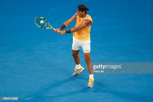 Rafael Nadal of Spain play a backhand in his third round match against Alex De Minaur of Australia during day five of the 2019 Australian Open at...