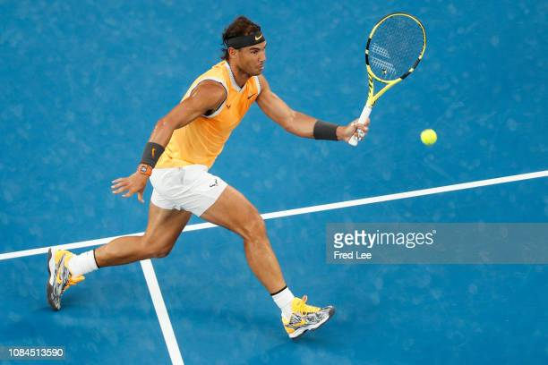 Rafael Nadal of Spain play a forehand in his third round match against Alex De Minaur of Australia during day five of the 2019 Australian Open at...