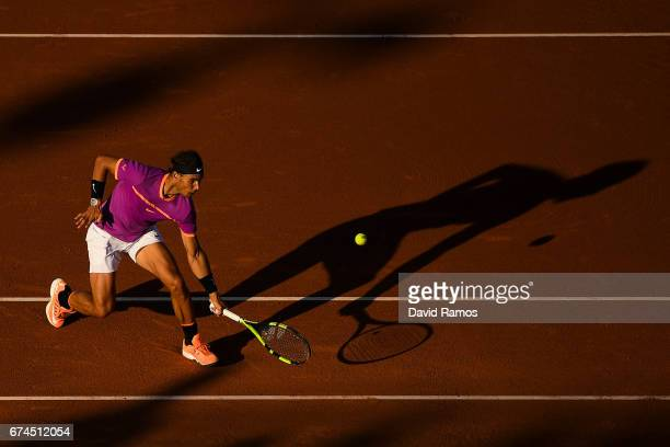 Rafael Nadal of Spain plays a backhand against Hyeon Chung of South Korea in the quarterfinal on day five of the Barcelona Open Banc Sabadell on...