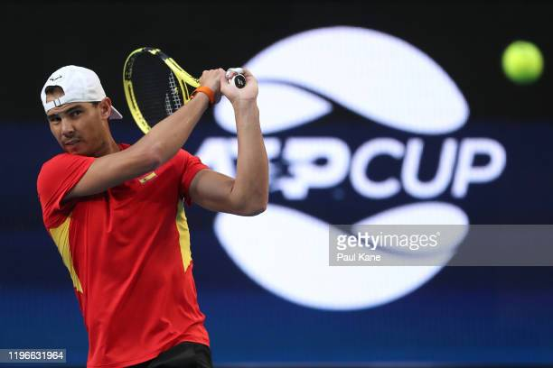 Rafael Nadal of Spain plays a backhand during a practice session ahead of the 2020 ATP Cup Group Stage at RAC Arena on December 30, 2019 in Perth,...