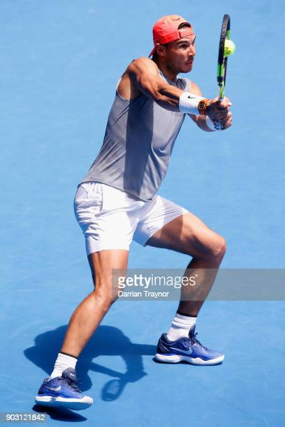 Rafael Nadal of Spain plays a backhand during a practice session ahead of the 2018 Australian Open at Melbourne Park on January 10 2018 in Melbourne...