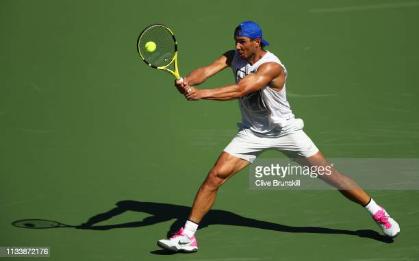 Rafael Nadal of Spain plays a backhand during a practice session on Day 2 of the BNP Paribas Open at the Indian Wells Tennis Garden on March 04, 2019...