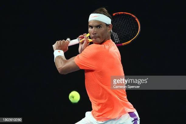 Rafael Nadal of Spain plays a backhand during his Men's Singles Quarterfinals match against Stefanos Tsitsipas of Greece during day 10 of the 2021...