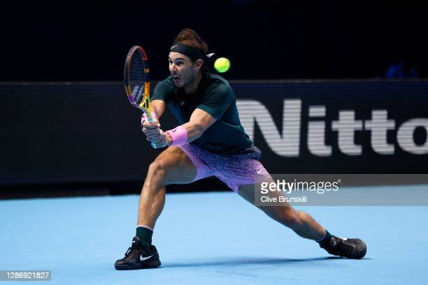 Rafael Nadal of Spain plays a backhand during his singles semi final match against Daniil Medvedev of Russia during day seven of the Nitto ATP World...