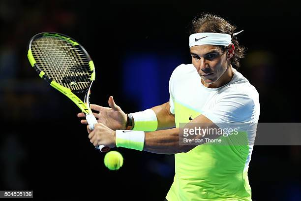 Rafael Nadal of Spain plays a backhand during the FAST4 Tennis exhibition match between Rafael Nadal and Lleyton Hewitt at Allphones Arena on January...