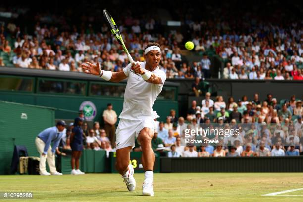 Rafael Nadal of Spain plays a backhand during the Gentlemen's Singles third round match between Karen Khachanov of Russia on day five of the...