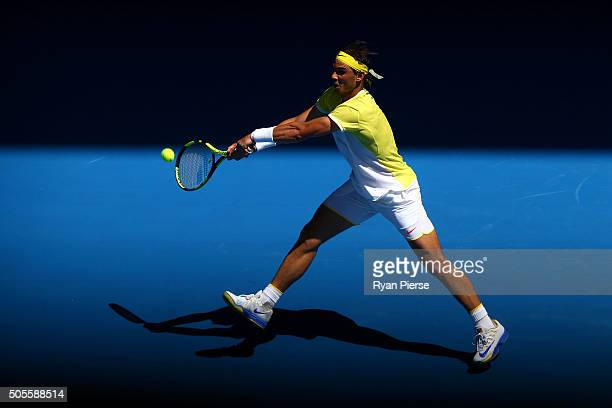 Rafael Nadal of Spain plays a backhand in his first round match against Fernando Verdasco of Spain during day two of the 2016 Australian Open at...